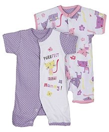 Lollipop Lane Pack of 2 Romper Suits Purrfect - 0 to 3 Months