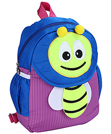 Fab N Funky Backpack Blue And Purple - Bee Design - 22 X 11 X 30 Cm