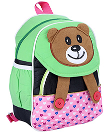 Fab N Funky School Bag Green And Black - Panda Face - School Bag 22 X 10 X 30 Cm