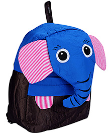 Fab N Funky School Bag Blue And Black - Elephant Face - School Bag 24 X 9 X 30 Cm