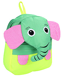 Fab N Funky School Bag Lemon Green And Light Yellow - Elephant Face - School Bag 24 X 9 X 30 Cm