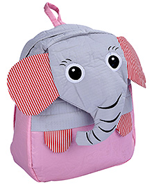 Fab N Funky School Bag Pink And Grey - Elephant Face - School Bag 24 X 9 X 30 Cm