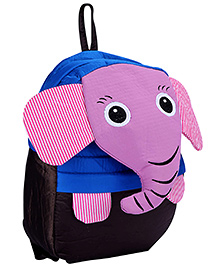 Fab N Funky School Bag Black And Purple - Elephant Face - School Bag 24 X 9 X 30 Cm
