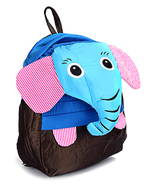Fab N Funky School Bag Black And Blue - Elephant Face - School Bag 24 X 9 X 30 Cm