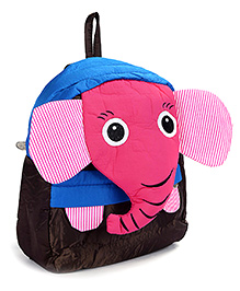 Fab N Funky School Bag Black And Dark Pink - Elephant Face - School Bag 24 X 9 X 30 Cm