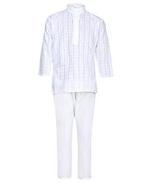 Babyhug Kurta And Pajama Check Self Pattern - White