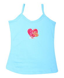 Barbie Singlet Slip Sky Blue - Pink Shoes Print