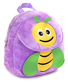 Fab N Funky Purple Plush Bag Bee Design - 11 Inches