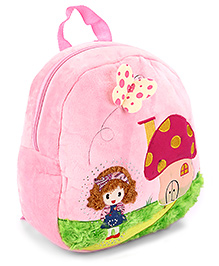 Fab N Funky Plush School Bag Butterfly Applique Light Pink - 11 Inches - Bag Dimension 28 X 10 X 30 Cm