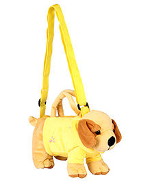 Fab N Funky Kids Sling Pouch Bag Dog Shape - Yellow And Light Brown