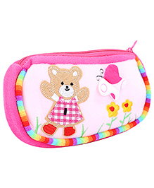 Fab N Funky Baby Pouch Pink - Baby Bear Embroidery
