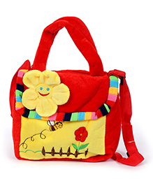 Fab N Funky Plush Kids Bag Flower Design - Red And Yellow