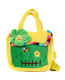 Fab N Funky Plush Kids Bag Flower Design - Yellow And Green