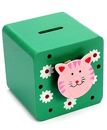 Fab N Funky Wooden Coin Box Green - Cat Face Motif