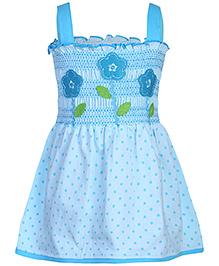 Babyhug Singlet Frock Blue - Floral Design