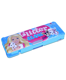 Barbie Magnetic Pencil Box With Side Compartment - Blue - 9 X 24 X 3 Cm