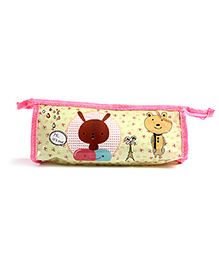 Fab N Funky Pencil Pouch Pink And Green - Rabbit Print