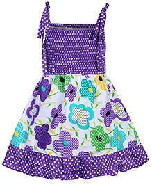 Babyhug Singlet Frock Purple - Floral Print