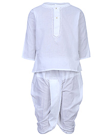 Infancy Full Sleeves Kurta And Dhoti Set - White