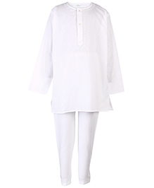 Babyhug Full Sleeves Kurta And Pajama Set - White