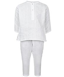 Babyhug Full Sleeves Kurta And Pajama Set - White