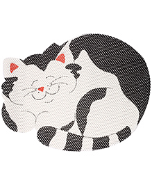 Fab N Funky EVA Room Mat Black And White - Cat Design - 50 X 67 Cm