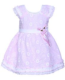 Babyhug Ruffle Sleeves Frock Pink - Chikan Embroidery