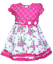 Babyhug Puff Sleeves Pleated Frock - Floral Applique
