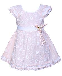 Babyhug Ruffle Sleeves Frock Peach - Chikan Embroidery