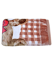 Mee Mee Baby Blanket Lovely Bear Print - Light Brown