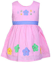 Babyhug Sleeveless Pleated Frock Pink - Floral Patch