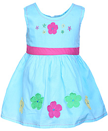 Babyhug Sleeveless Pleated Frock Blue - Floral Patch