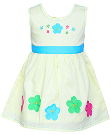 Babyhug Sleeveless Pleated Frock Yellow - Floral Patch