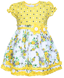 Babyhug Puff Sleeves Pleated Frock Floral Applique - Yellow