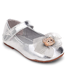 Sweet Year Belly Shoes Silver - Cat Face Applique