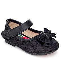 Ket Black Belly Shoes - Bow Applique