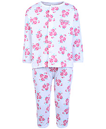 ToffyHouse Full Sleeves Night Suit White And Pink - Rose Print