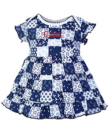 ToffyHouse Short Sleeves Frock Navy Blue - Anchor Print