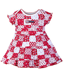 ToffyHouse Short Sleeves Frock Red - Anchor Print