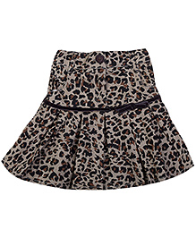 Babyhug Knee Length Pleated Skirt - Brown