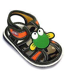 Cute Walk Sandal With Velcro Closure - Frog Applique