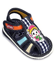 Cute Walk Baby Sandal Velcro Closure Navy Blue - Checks Print