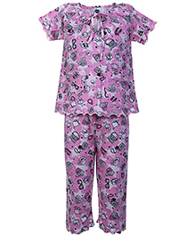 Teddy Short Sleeves Night Suit Pink - Tie Up Knot