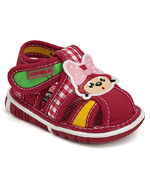 Cute Walk Squeaky Sandal With Velcro Closure - Baby Face Applique
