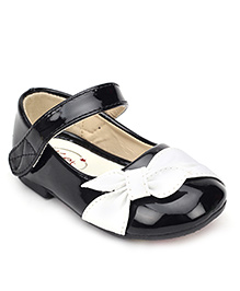 Ket Belly Shoes With Velcro Closure Black - Bow Applique