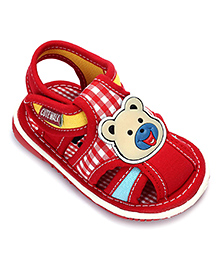Cute Walk Squeaky Sandal With Velcro Closure - Animal Applique