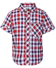 Babyhug Half Sleeves Check Shirt - Red And Multi Colour