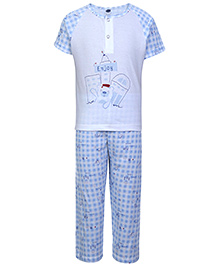 Teddy Printed Night Suit White And Blue - Raglan Sleeves