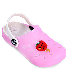 Cute Walk Clog With Back Strap Baby Pink - Strawberry Applique