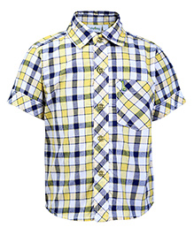Babyhug Half Sleeves Check Shirt - Yellow
